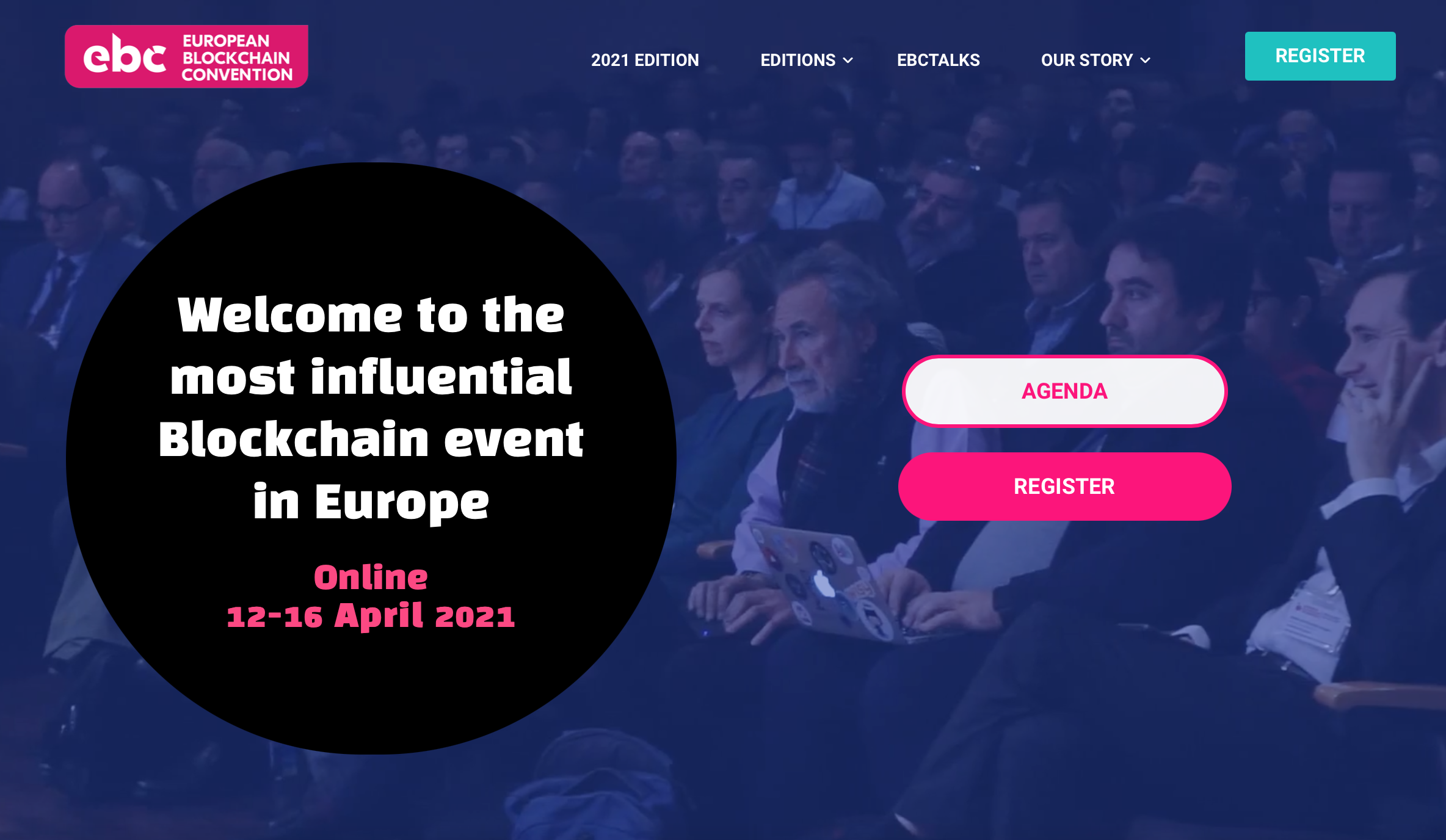 Screenshot of website - European Blockchain Convention 2021