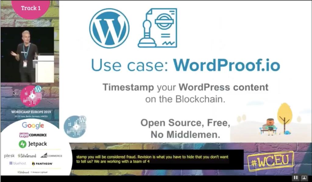 Screenshot: Introduction of WordProof at WordCamp 2019